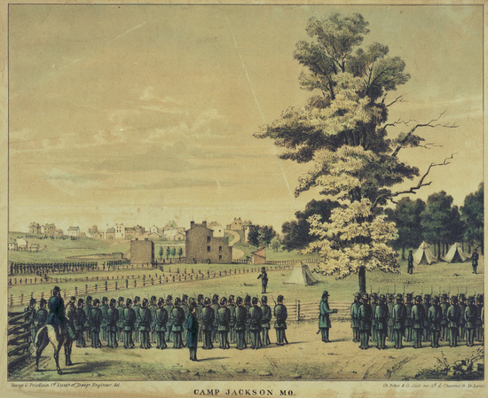 Camp Jackson, Missouri state militia gathered in an effort to overrun the Liberty Arsenal in St. Louis