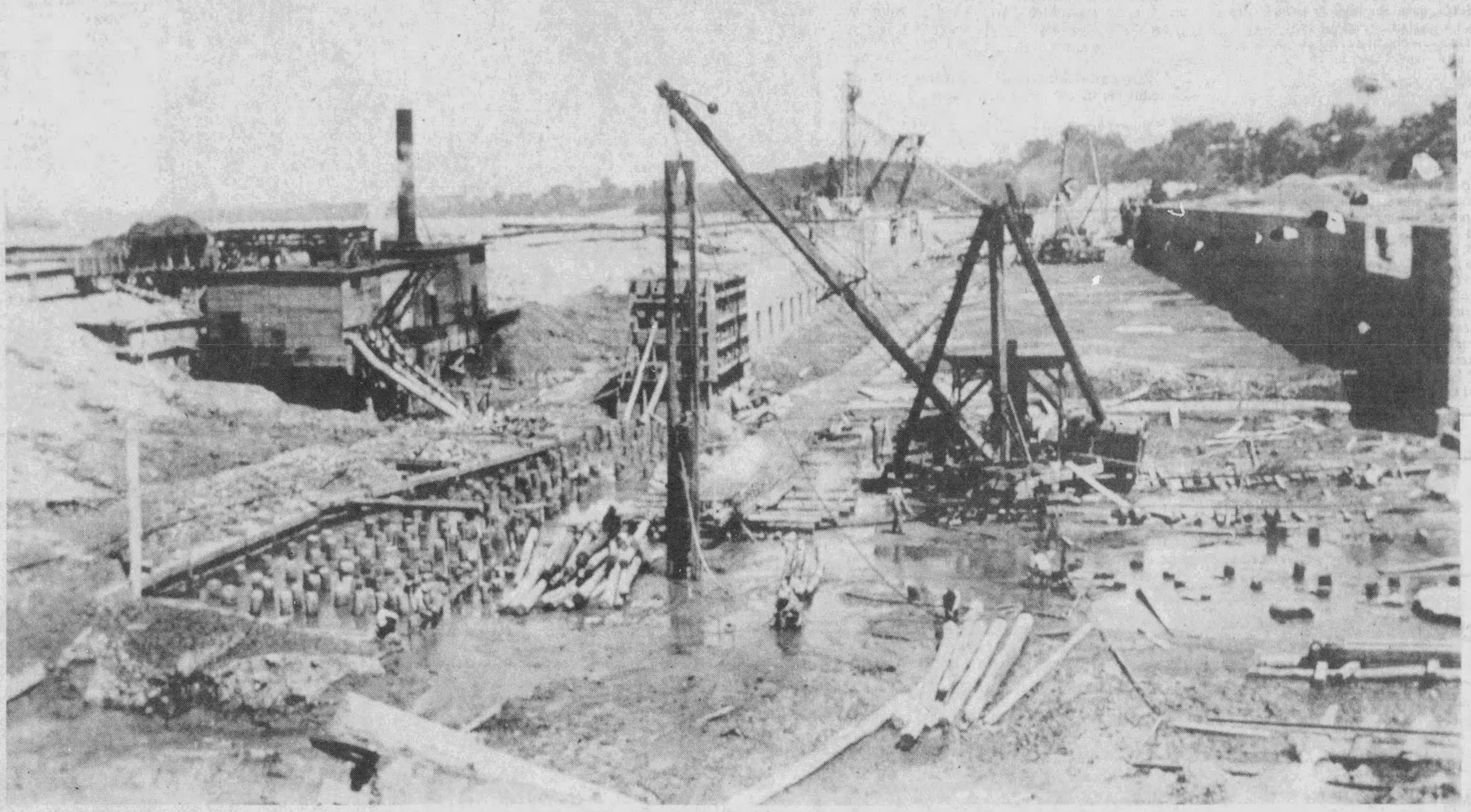 Construction work on the locks, 1923-1928