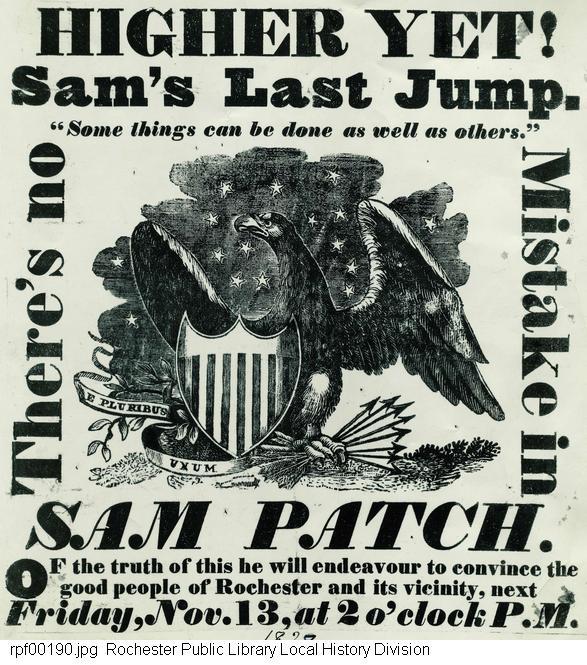 Flyer for Sam Patch's fatal last jump on November 13, 1829