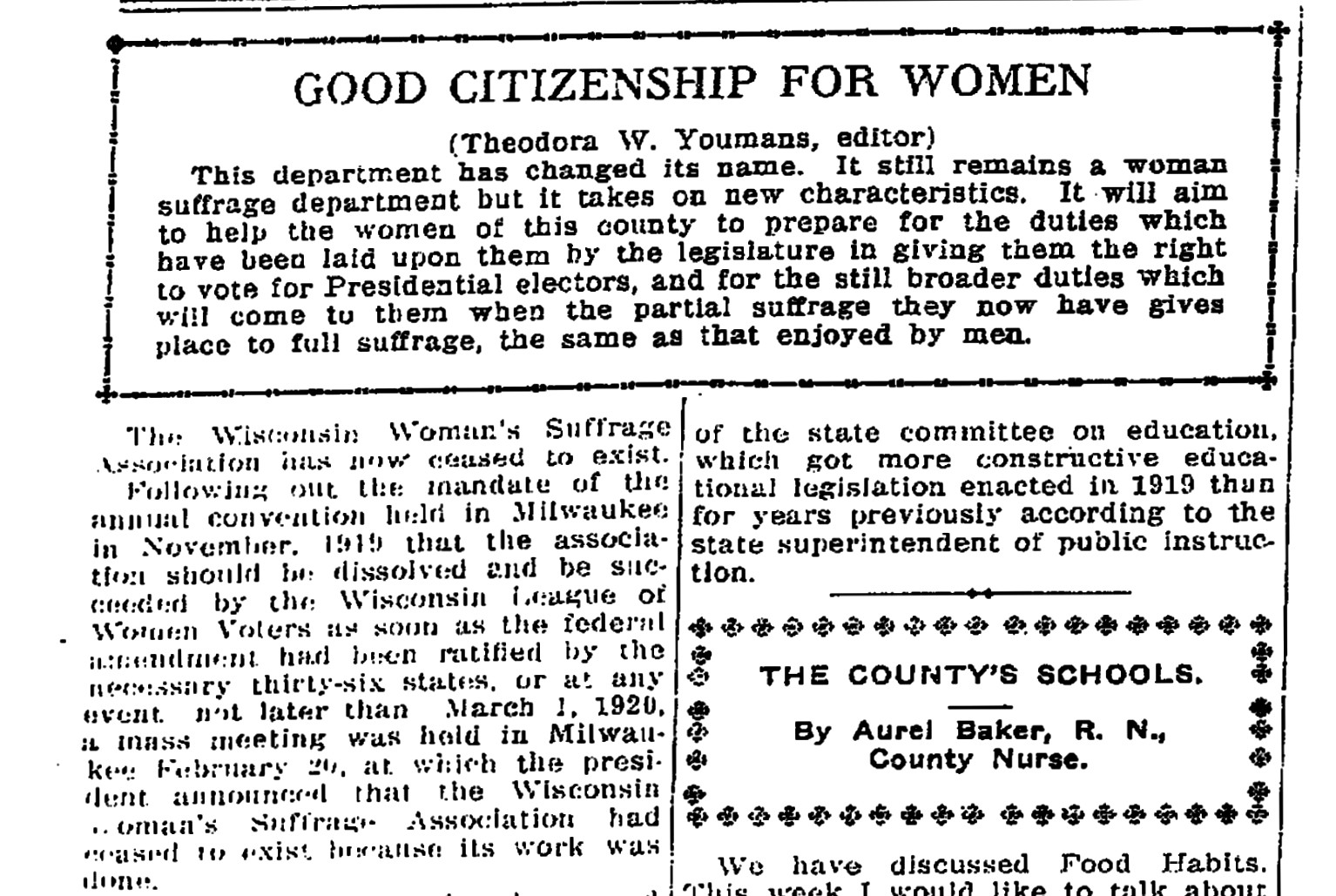 "Theodora Winton Youmans announcing the end of the WWSA in the ""Waukesha Freeman,"" March 4, 1920"