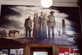 A WPA mural created in 1939 and on display at the post office in nearby Pleasant Hill depicts a family returning to their destroyed home.