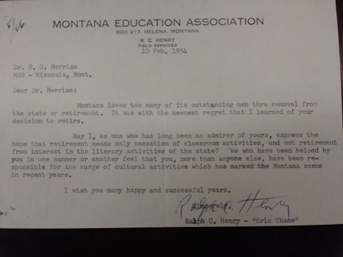 A 1954 letter to Merriam about his retirement