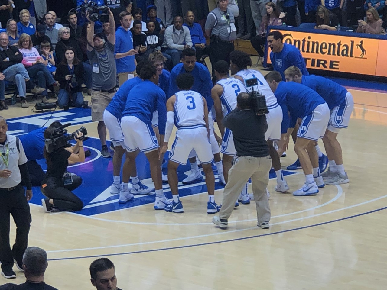 """The huddle"" is considered a pregame ritual each home game."