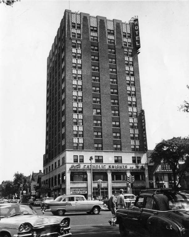 """Catholic Knights Building, circa 1955 (""""Department of Special Collections and University Archives, Marquette University Libraries, MUA_008677)"""