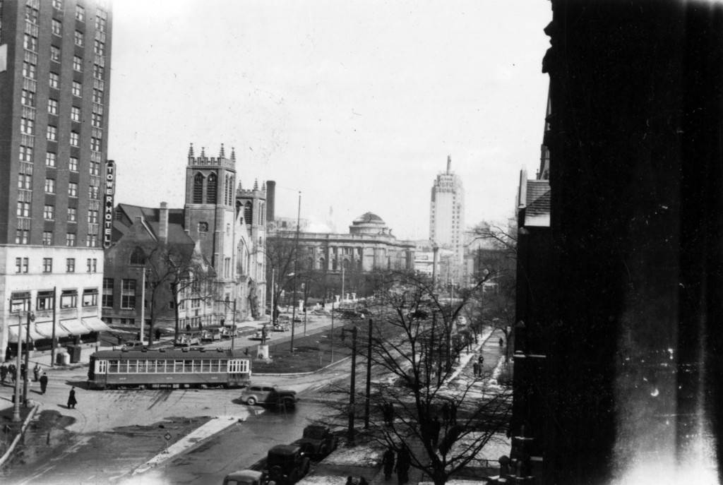 "View of Carpenter Tower (Then known as the Tower Hotel) from Johnston Hall, 1940 (""Department of Special Collections and University Archives, Marquette University Libraries, MUA_007281)"