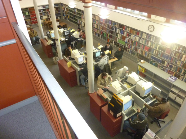 This image shows what a busy Friday morning in the library looked like in 2011.