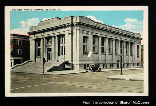 This photo is actually a painted image of what the library and surrounding area of Reading looked like in the 50s/60s.