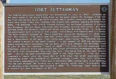A historical marker near the side of the road tells the history of the fort.