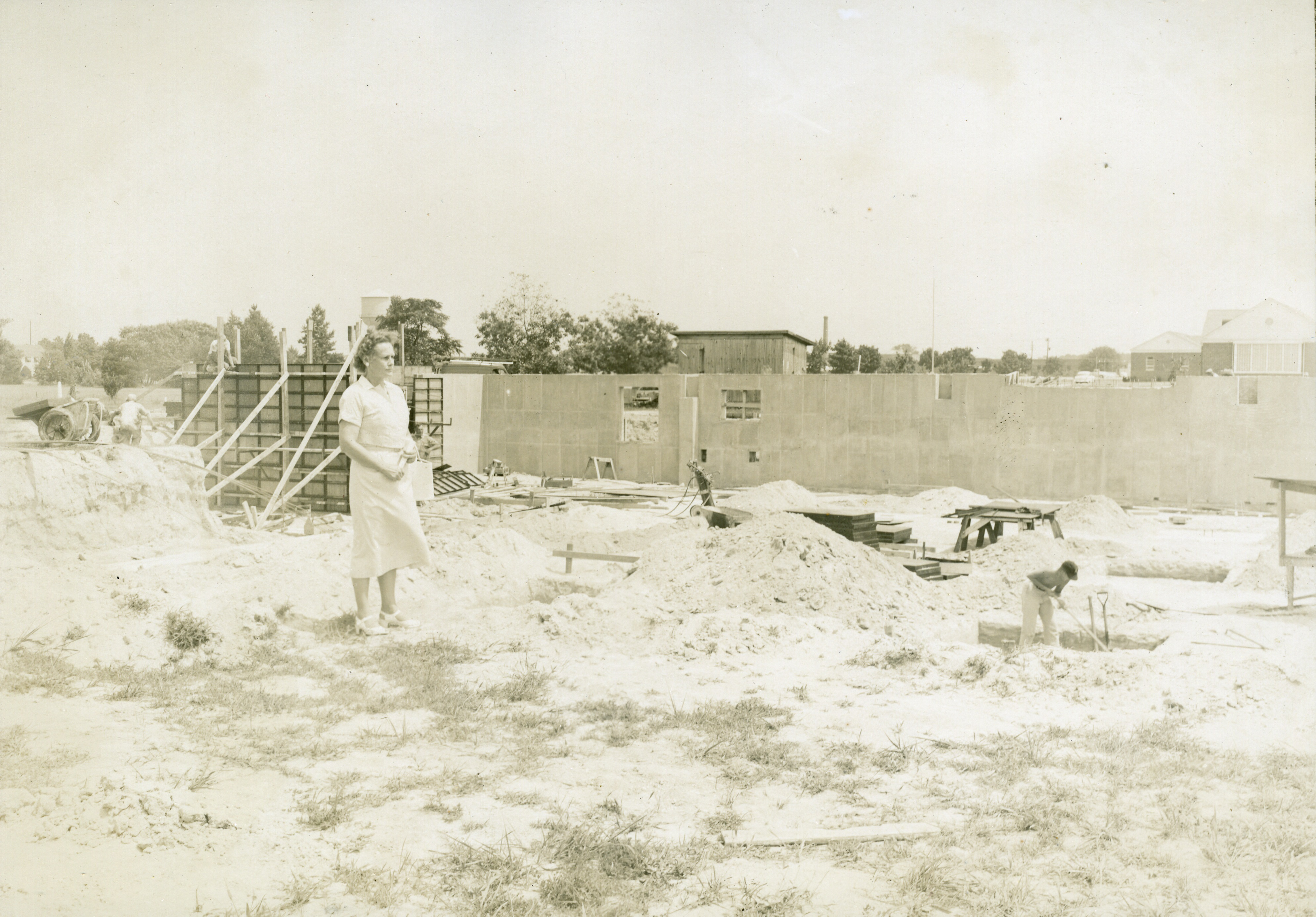 Construction of Blackwell Library, circa 1955