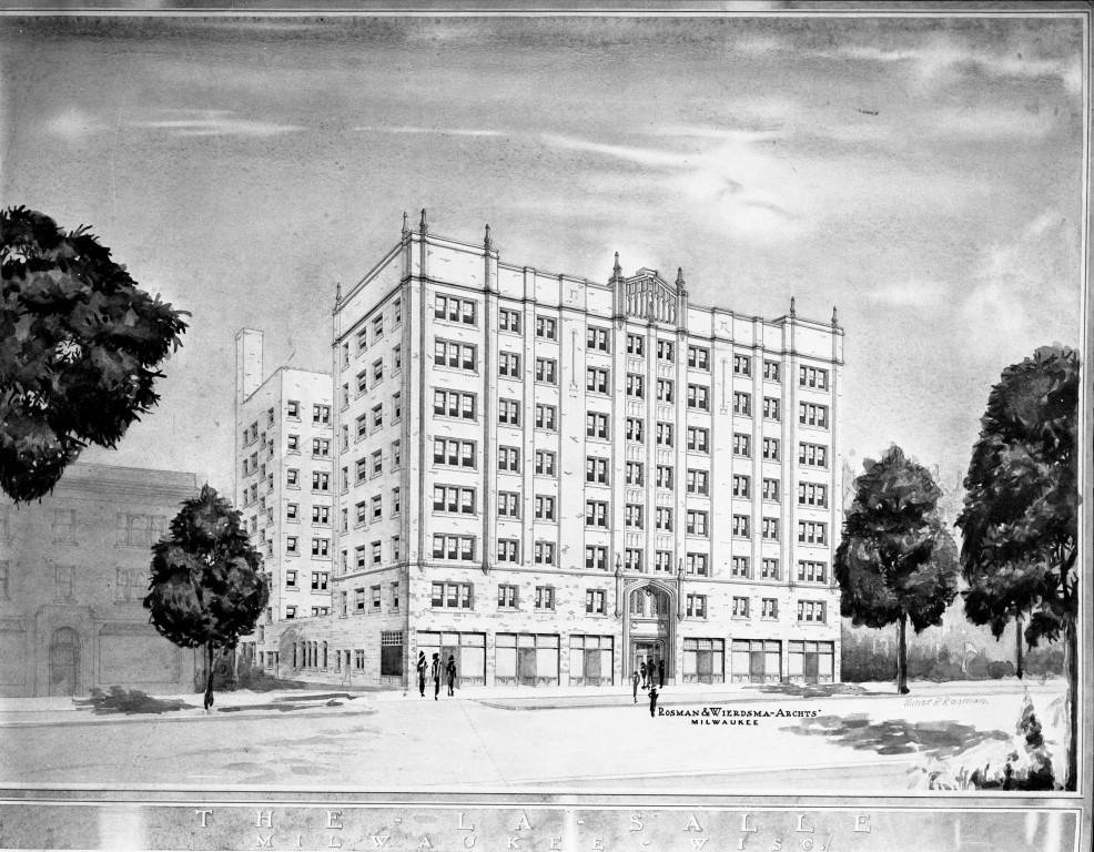 "Architect's rendering of La Salle Hotel, 1928 (""Department of Special Collections and University Archives, Marquette University Libraries, MUA_CB_01094)"