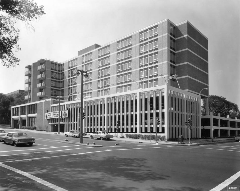 "South and east facades of the Coach House Motor Inn, 1964 (""Department of Special Collections and University Archives, Marquette University Libraries, MUA_CB_01318)"