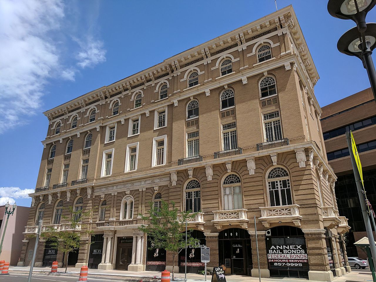 The Toltec Building, also known as the Toltec Club, was built in 1908 and is one of the most architecturally striking buildings in El Paso.