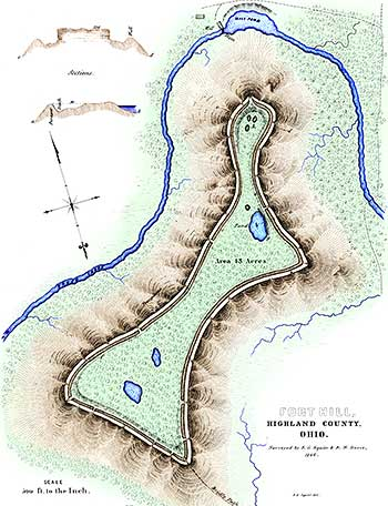 Original survey map of Fort Hill