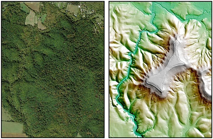 Satellite image and LIDAR image comparison