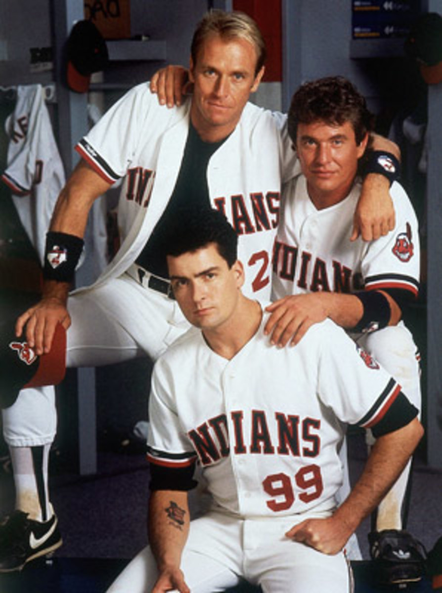 The 1989 Cleveland Indians Home uniforms, worn here by the cast of Major League.