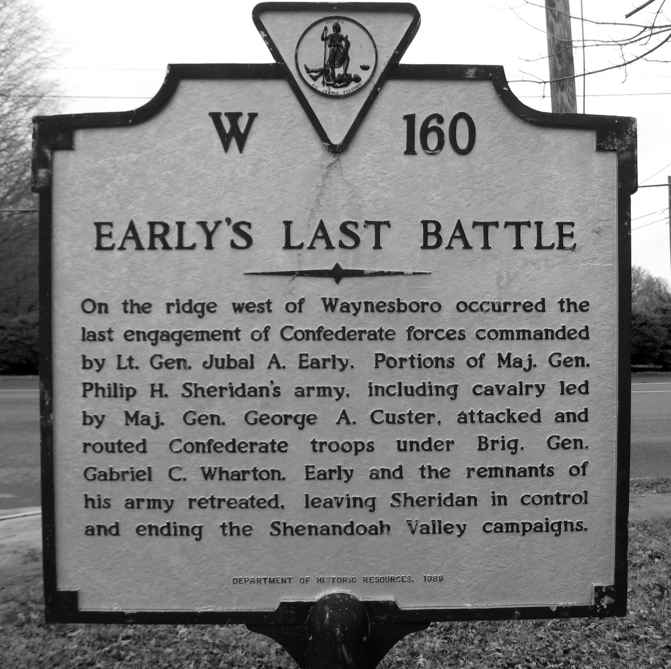 This historic marker emphasizes the battle as the final engagement of Confederate General Jubal Early.