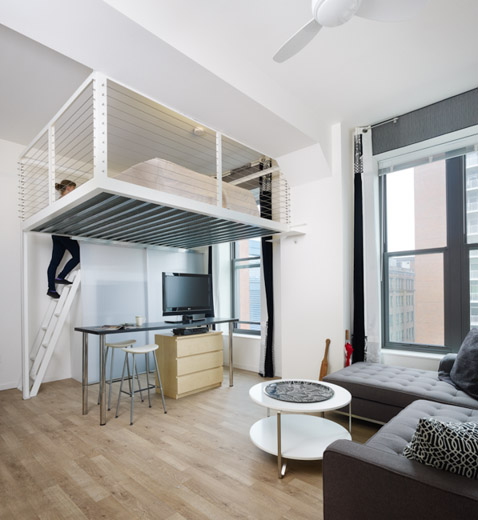 One of the Century Building's affordable loft-style apartments.