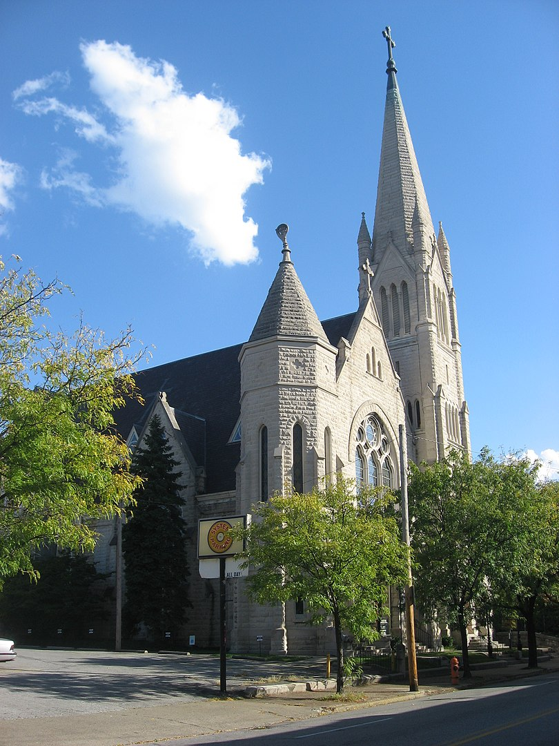 Front and northern side of Calvary Episcopal Church, located at 821 S. Fourth Street in Louisville, Kentucky,