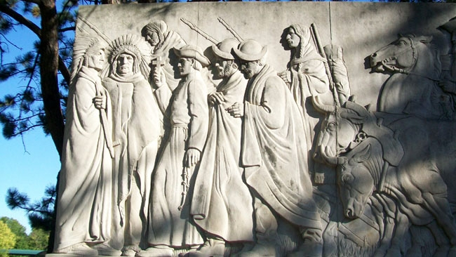Closeup of the bas relief sculpture.