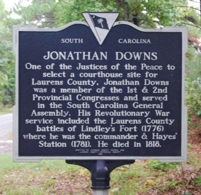 Historical marker summarizing the contributions of Major Jonathan Downs, on the reverse of the Lindley's Fort marker.