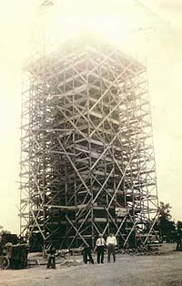 Picture of the William Penn Memorial Fire Tower while being built