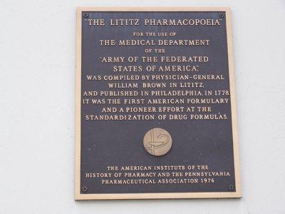 Lititz Pharmacopoeia historical marker.