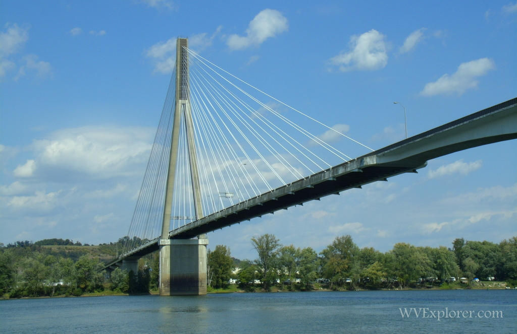 View of Frank Gatski Memorial Bridge from the banks of the Ohio River