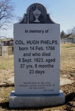 Col. Phelps Headstone, located at Tavenner Cemetary