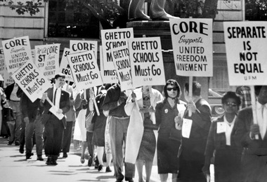 United Freedom Movement members picket the Cleveland Board of Education in September 1963.