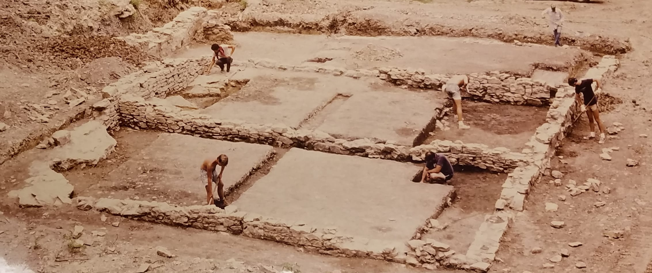 Archaelogical excavation of ruins in the 1980s