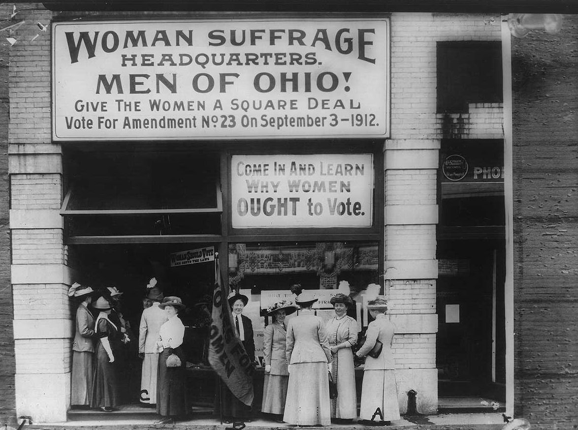 Woman Suffrage Headquarters, Cleveland; A (at extreme right) Miss Belle Sherwin, President, National League of Women Voters; B (holding the flag) Judge Florence E. Allen; C Mrs. Malcolm McBride