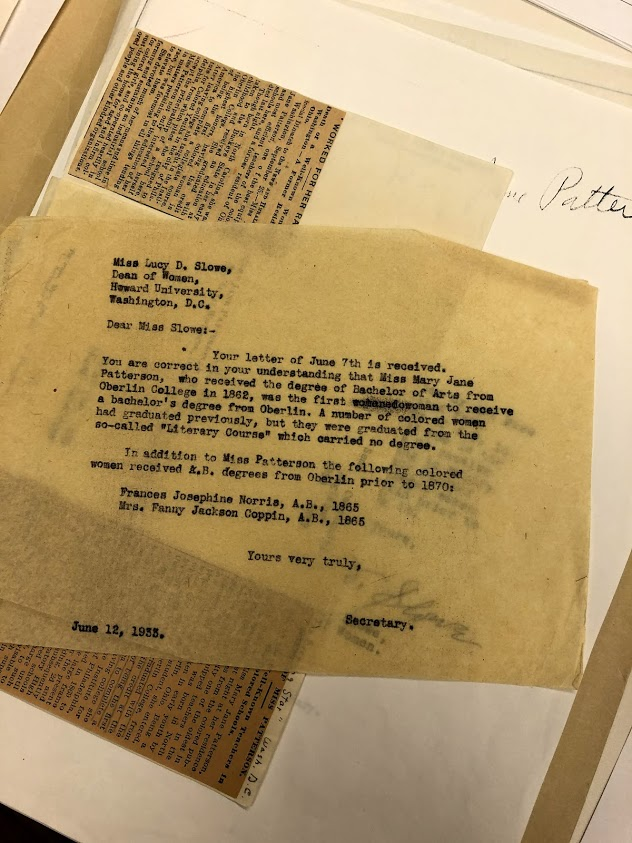 Letter written by George Morris proving the status of Patterson's graduation. This letter is available in the Oberlin College Archives.