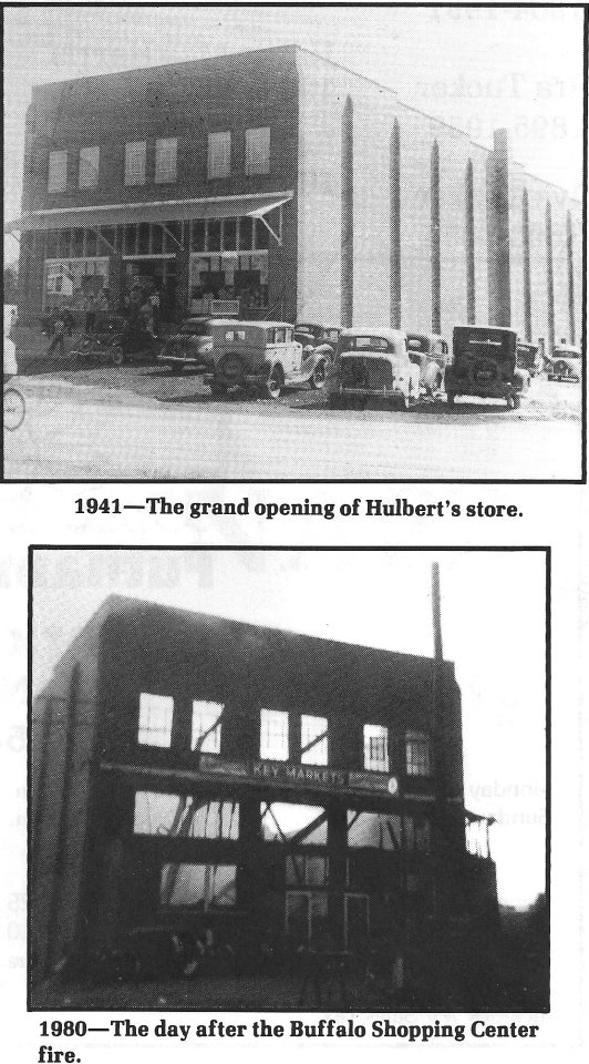 Picture before and after the fire in 1980 that destroyed the store