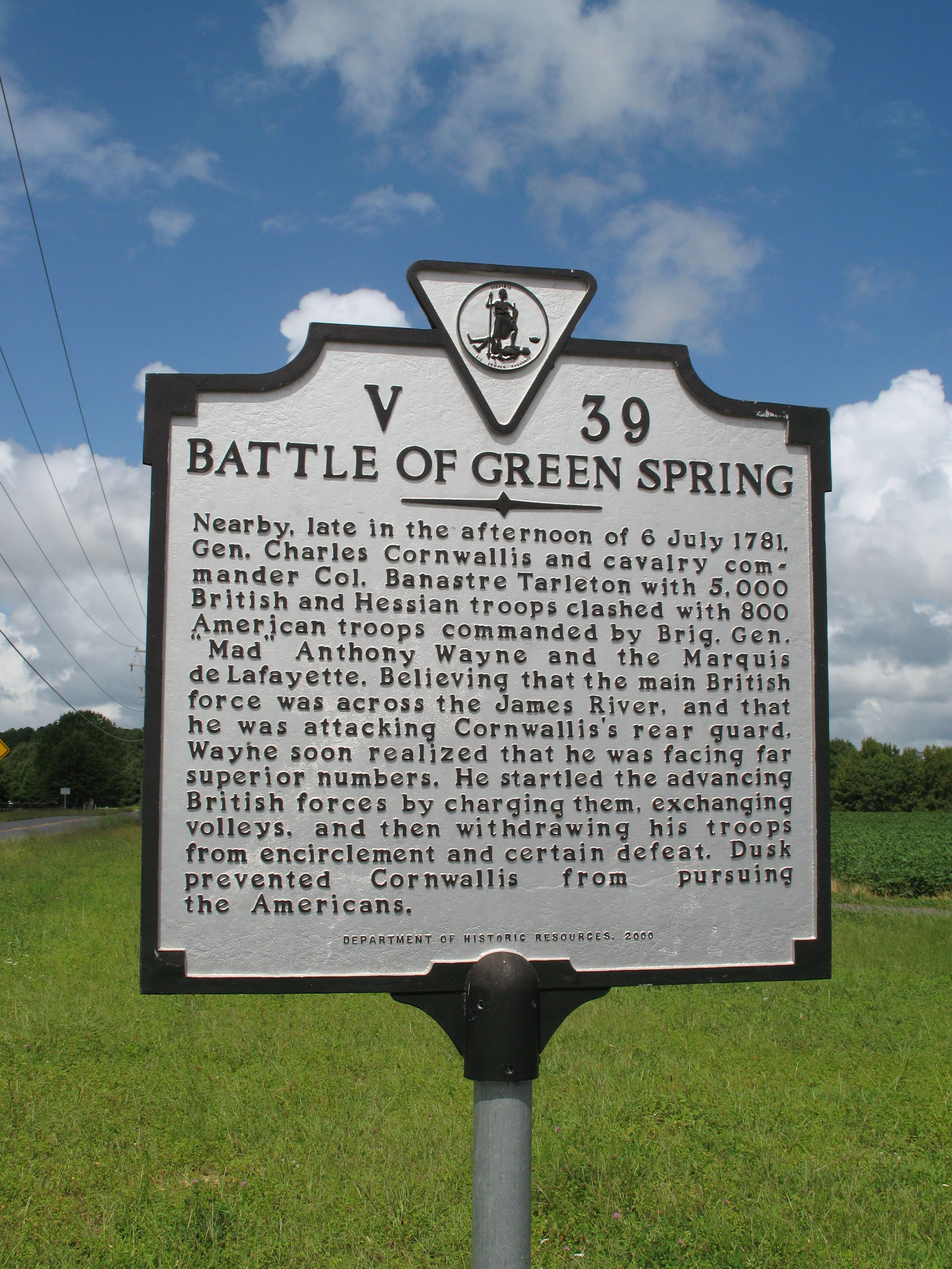 Historical marker for the Battle of Green Spring by Laura Troy on hmdb.org (reproduced under Fair Use).