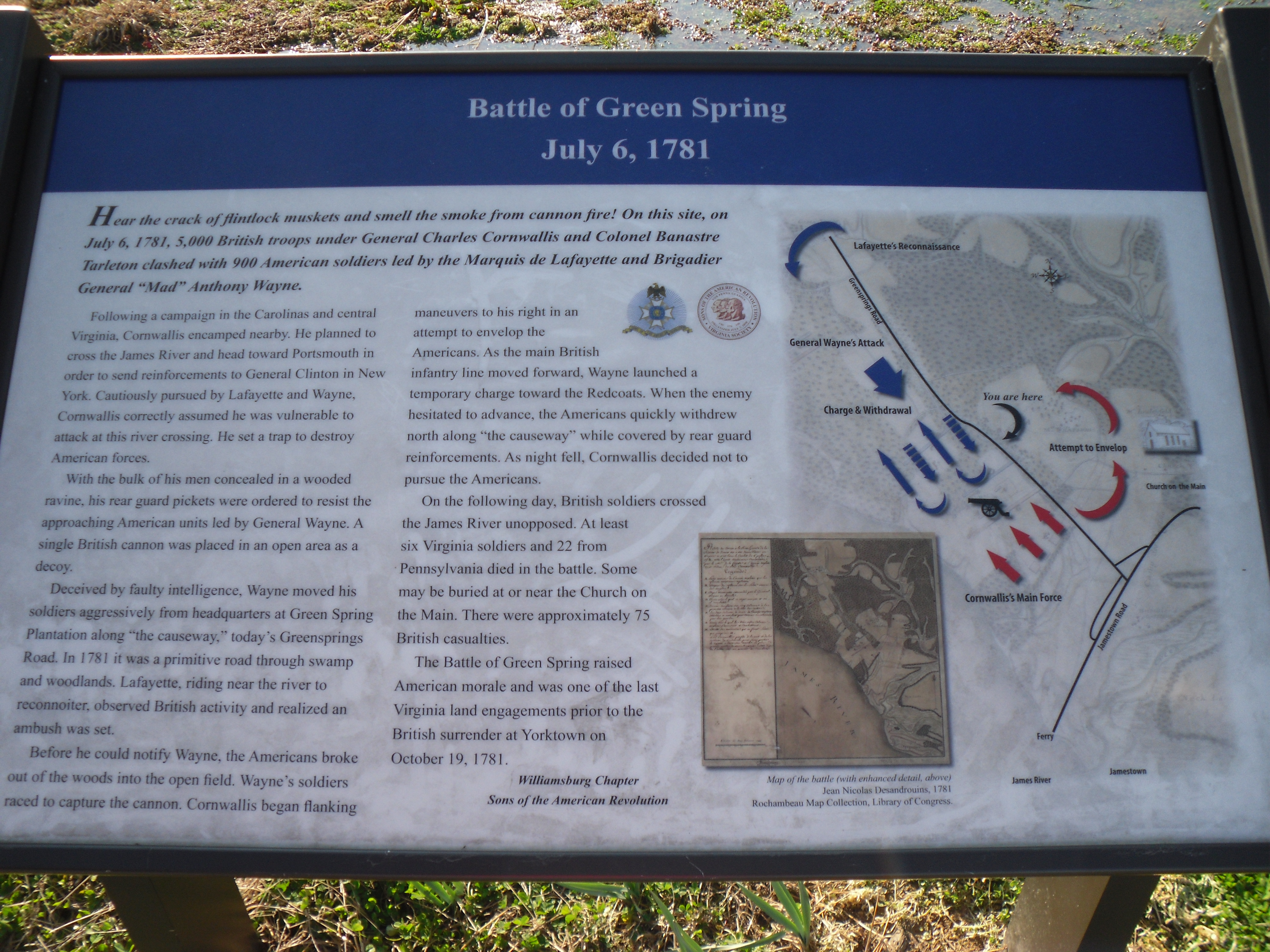 Informational placard at the site, courtesy of RevolutionaryWar.us (reproduced under Fair Use)