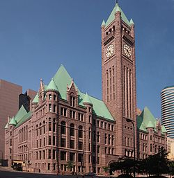 The Minneapolis Municipal Building, also known as City Hall, is on the National Register of Historic Places. It takes up an entire city block.