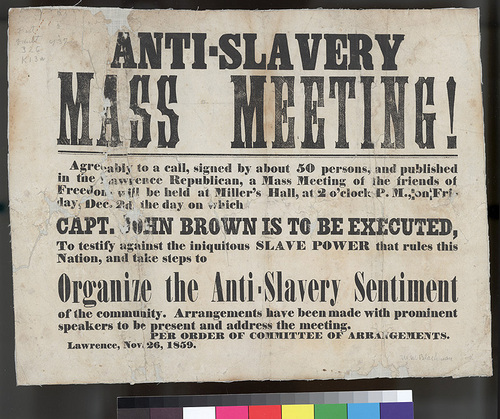 An anti-slavery meeting scheduled for December 2, 1859, the day John Brown would be executed