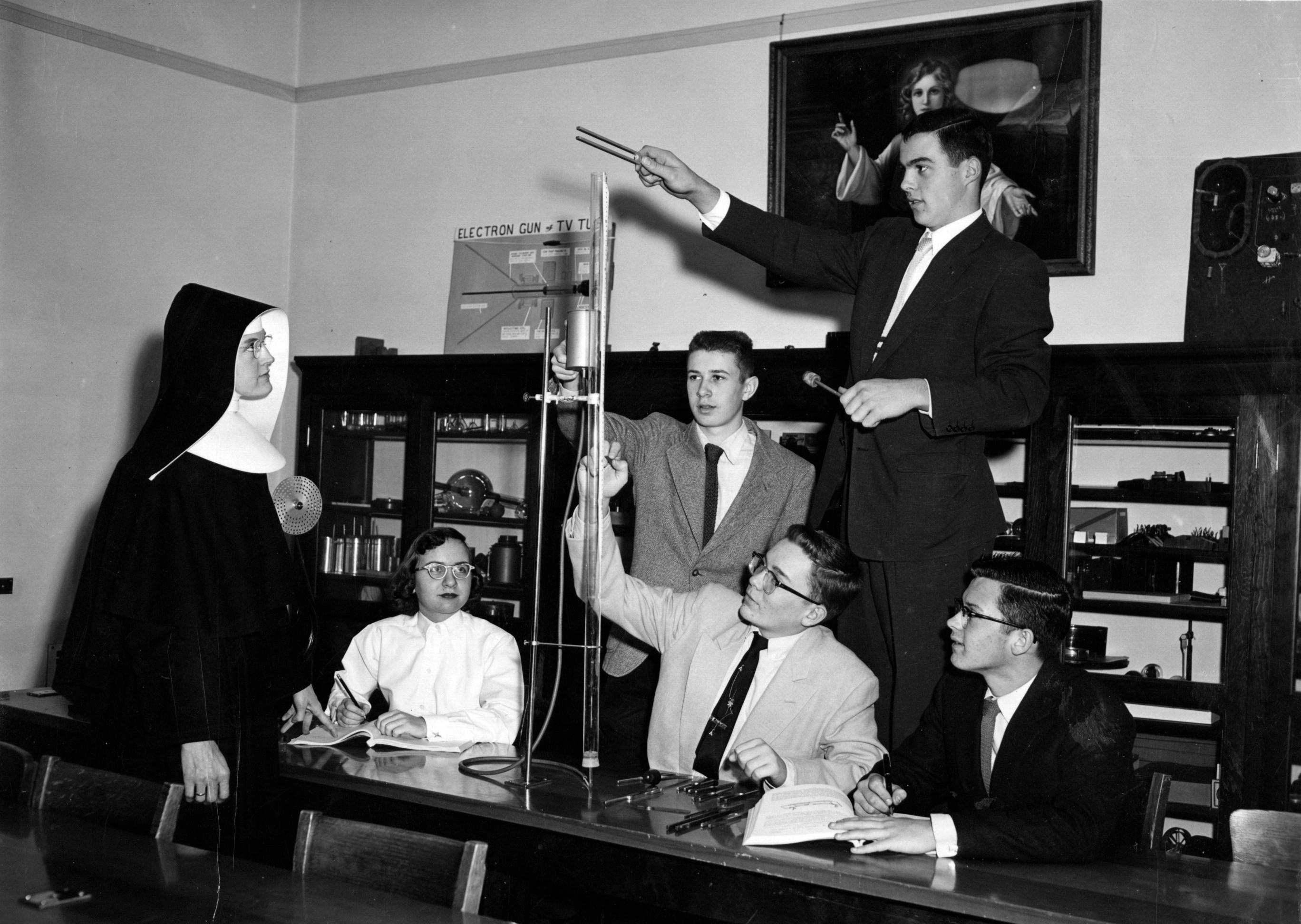 Sister Michaela O'Brien teaches a physics class at St. Mary's Springs Academy in the 1950s.