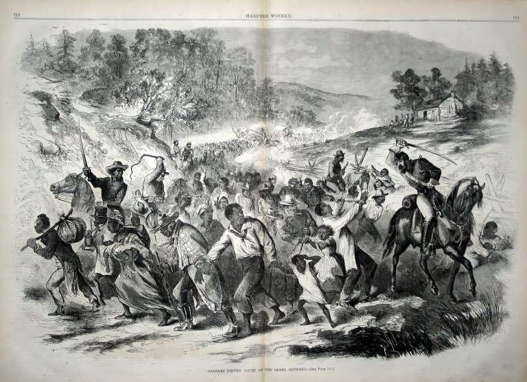 This 1862 image from Harper's Weekly depicts Confederate soldiers taking free people of color they captured to the South where they were sold into slavery similar to the actions of Jenkins' men in 1863.