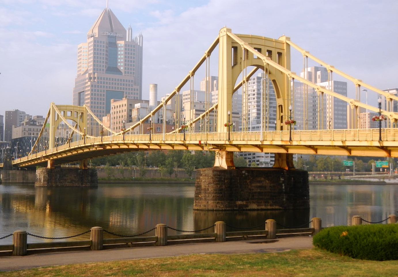 The Roberto Clemente Bridge connects downtown Pittsburgh to its North Shore and PNC Park.