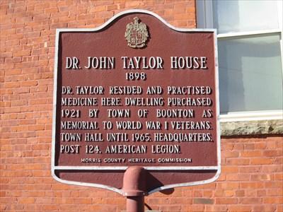 Dr. John Taylor House historical marker.