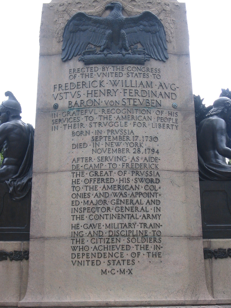 The rear of the monument includes a tribute to von Steuben.