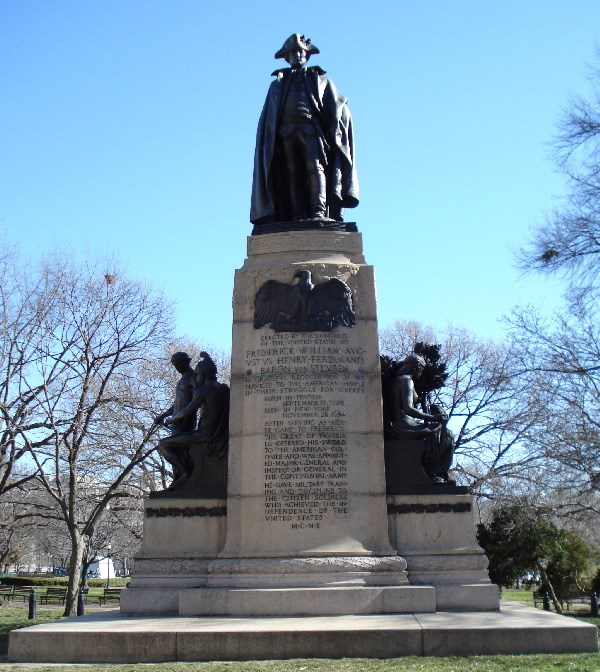 This monument recognizes the service of Baron von Steuben who helped train and lead American soldiers in the Revolutionary War.