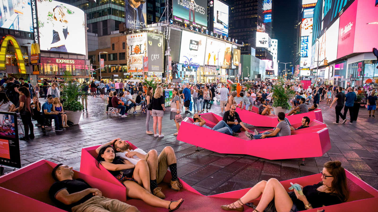 Relaxation is always found in Times Square