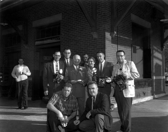 Truman and Reporters in front of the Independence Station- 97-26 (Truman Library)