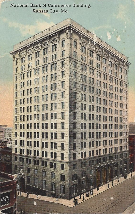 Postcard of the building, labeled here as the National Bank of Commerce Building. Image obtained from Squeeze Box City.
