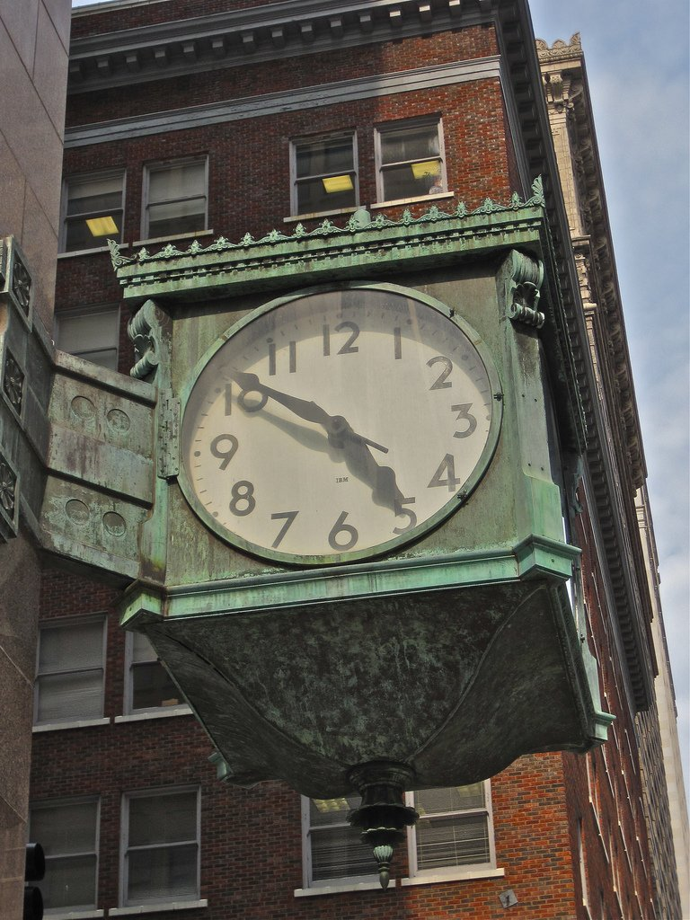 In 1953 a large bronze and copper clock was installed on the southwest corner. It was built by the Livers Bronze Company in conjunction with IBM. Image obtained from flickr.