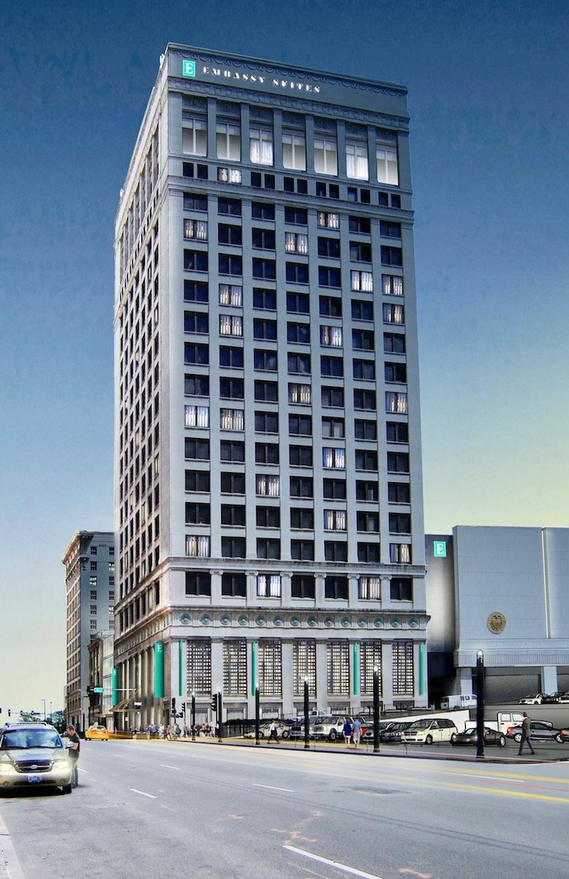 The Federal Reserve Building is currently being converted into an Embassy Suites hotel, as seen in this artist rendering. Image obtained from CitySceneKC.