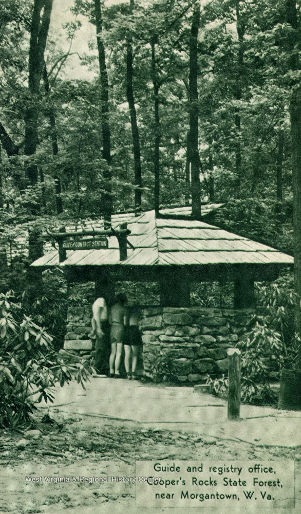 Postcard depicting the information booth
