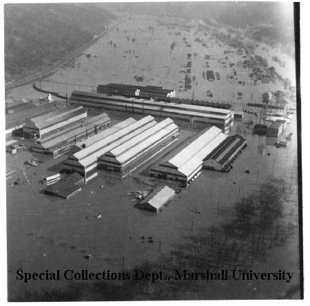 Aerial view of the nickel plant during the flood of 1937